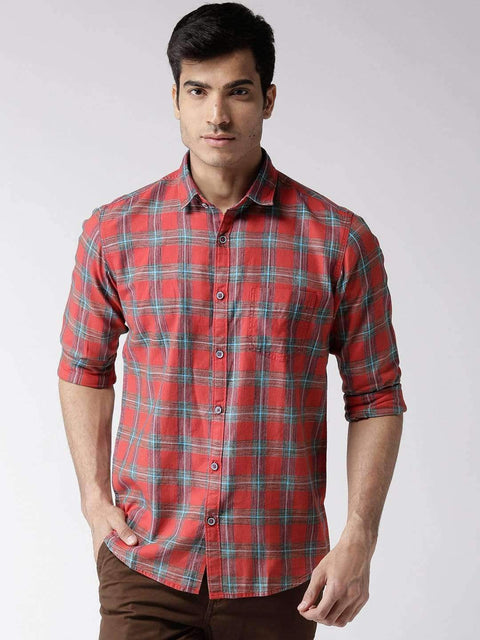 Red & Blue Slim Casual Shirt for men