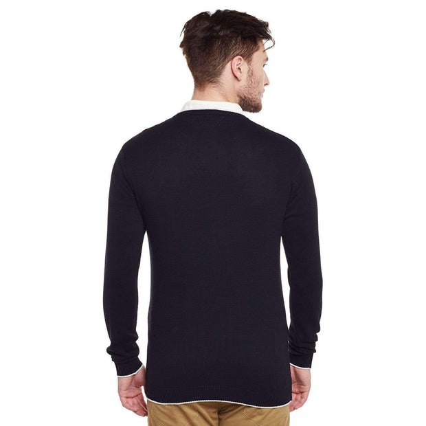 Black V Neck Sweaters Back view