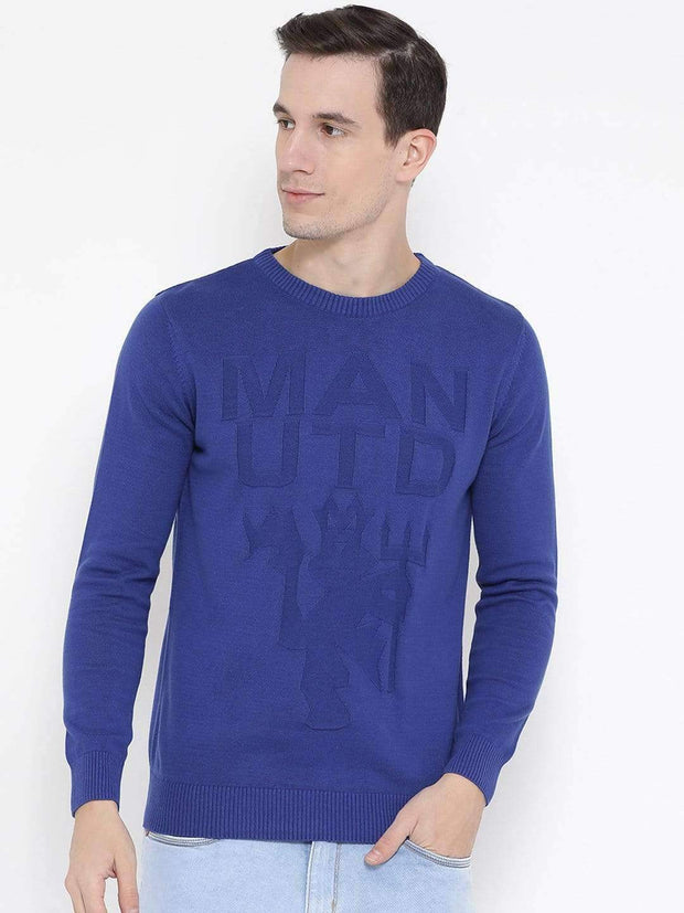 Blue Round Neck Casual Sweater