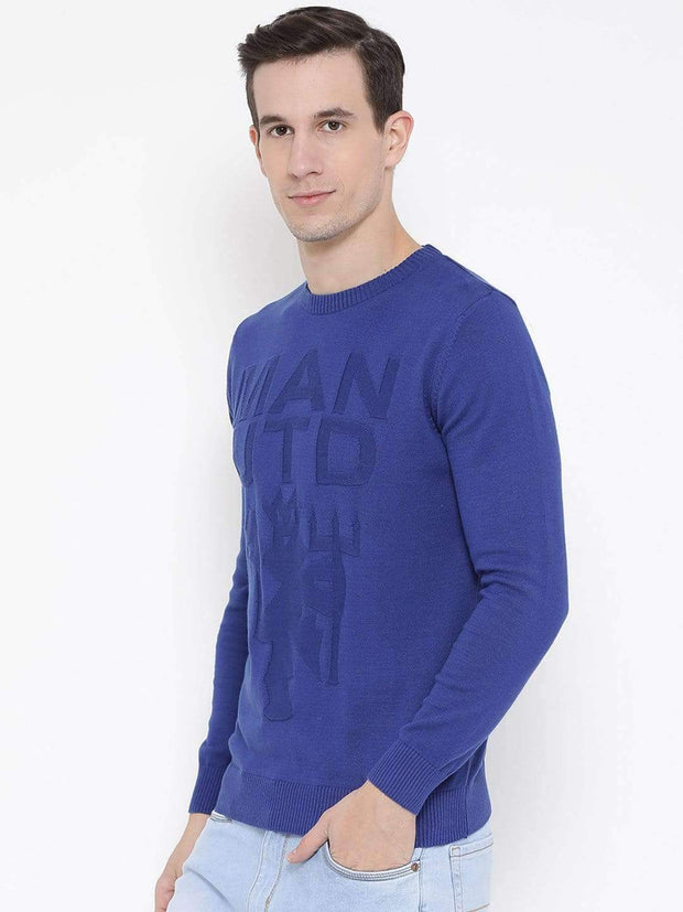Blue Round Neck Casual Sweater Side View