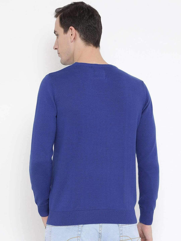 Blue Round Neck Casual Sweater back View