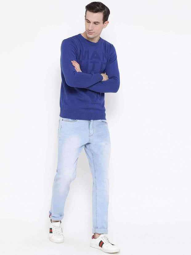 Blue Round Neck Casual Sweater full view