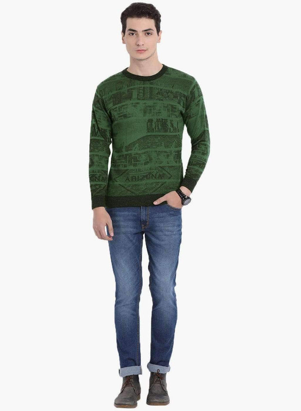 Green Round-Neck Sweater full view