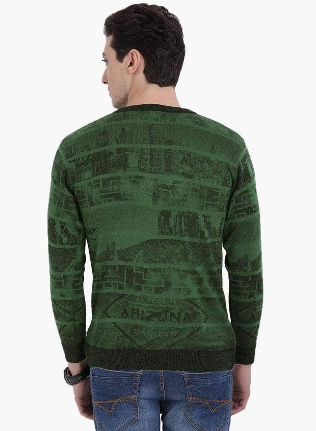 Green Round-Neck Sweater back view
