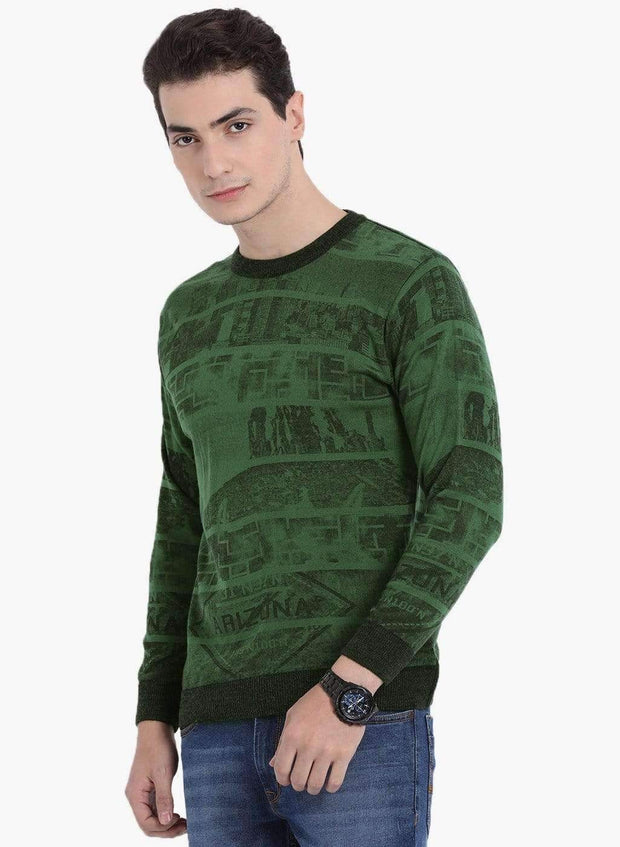 Green Round-Neck Sweater side view