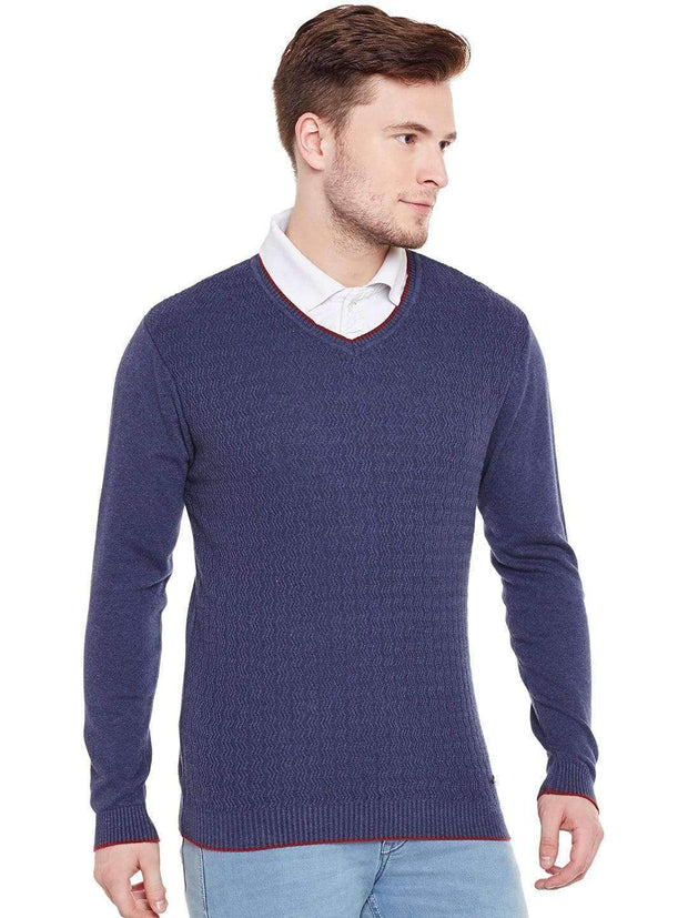 Navy Blue V Neck Sweater Side view