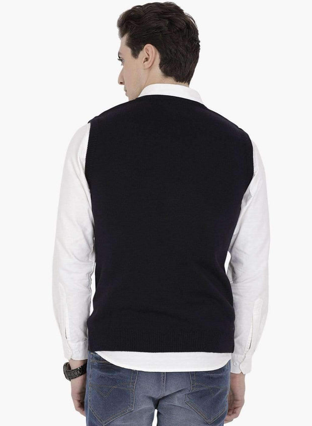 Navy V-Neck Sweater Back View