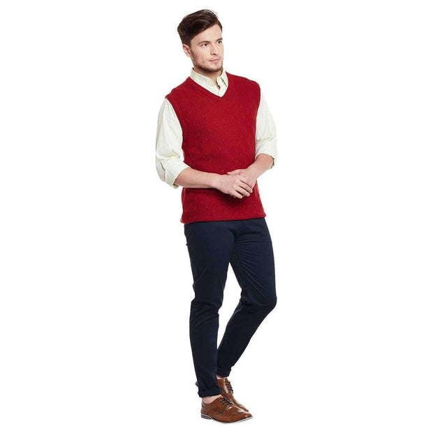 Red Color V Neck Half Sleeve Sweater Full View