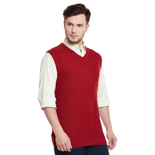 Red Color V Neck Half Sleeve Sweater side view