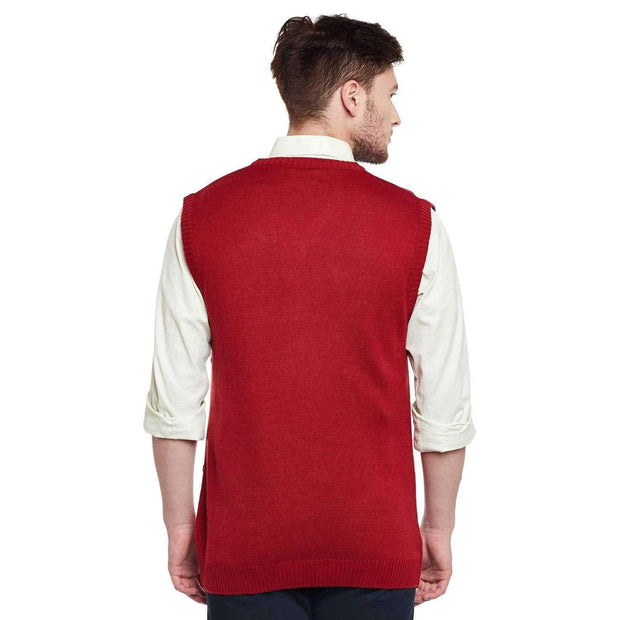 Red Color V Neck Half Sleeve Sweater Back View