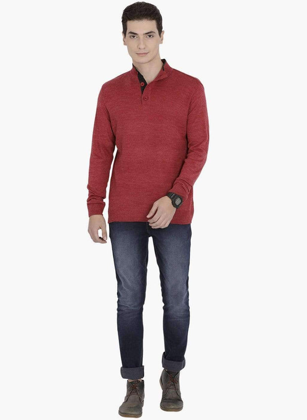 Red Henley Sweater Full View