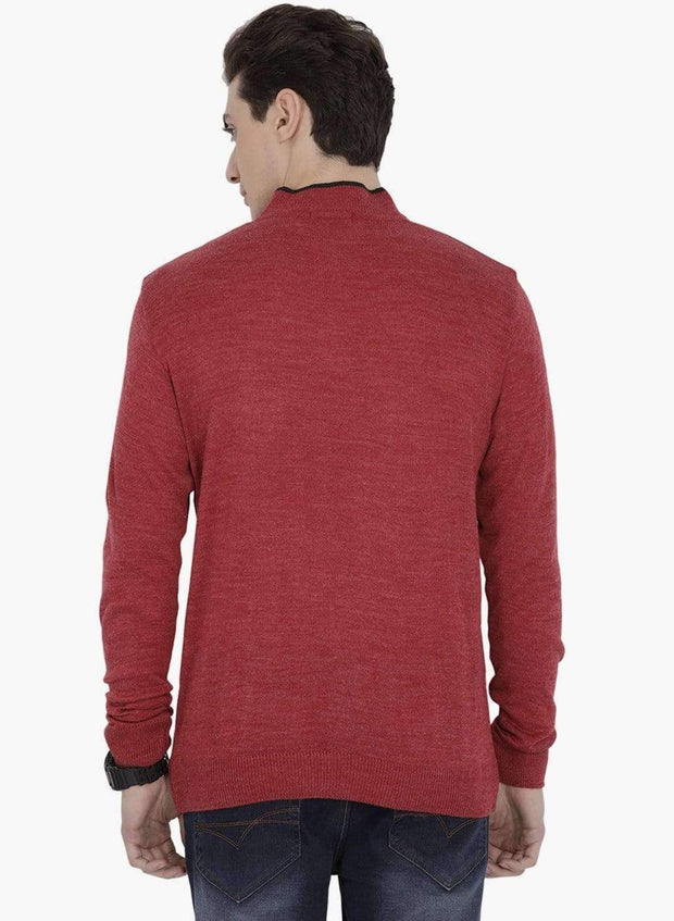 Red Henley Sweater Back View