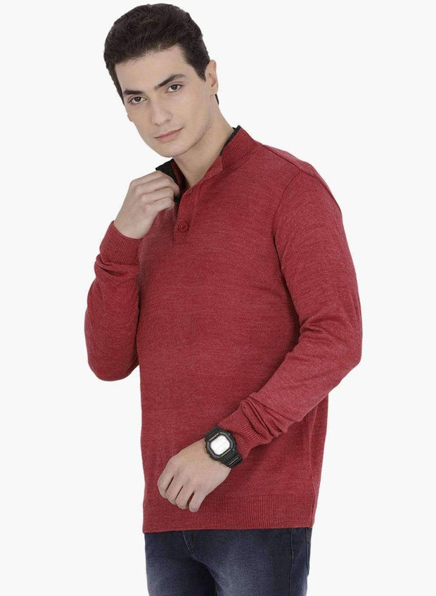 Richlook Sweater Richlook Red Henley Sweater