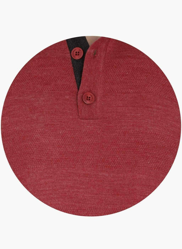 Red color Henley Sweater
