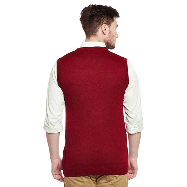 Richlook Sweater Richlook Red V Neck Half Sleeve Sweater