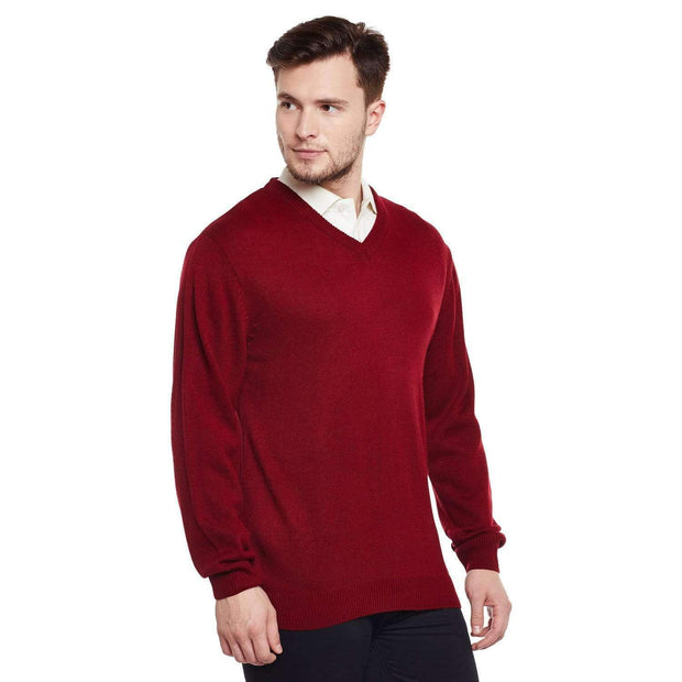 Red V Neck Sweater side view
