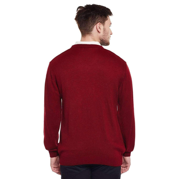 Red V Neck Sweater back view