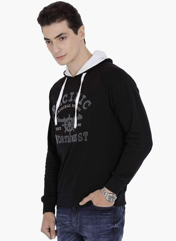 Black Hoodie Sweatshirt side view