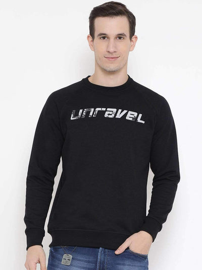 Black Regular Fit Casual Sweatshirt