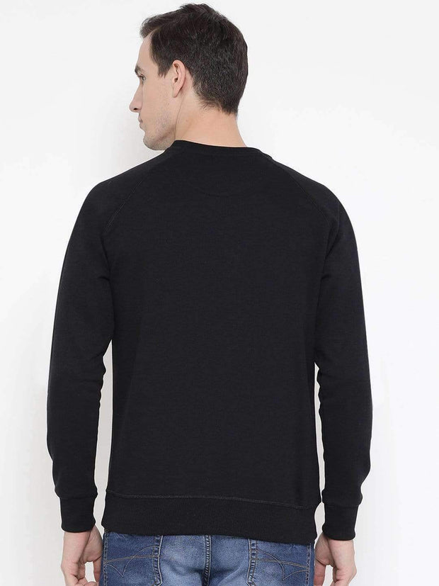 Richlook Black Regular Fit Casual Sweatshirt