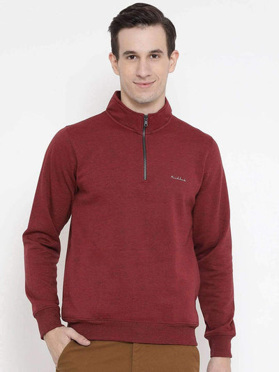Maroon Regular Fit Casual Sweatshirt