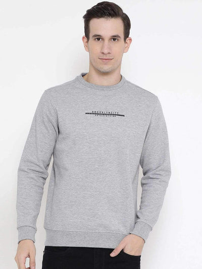 Melange Grey Regular Fit Casual Sweatshirt