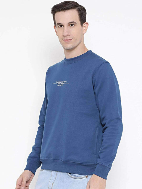 Royal Blue Regular Fit Casual SweatShirt Side View