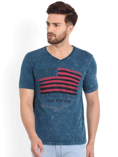 Richlook Blue V-Neck T-Shirt