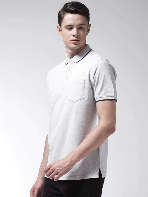 Ecru & Melange Polo T-shirt side view