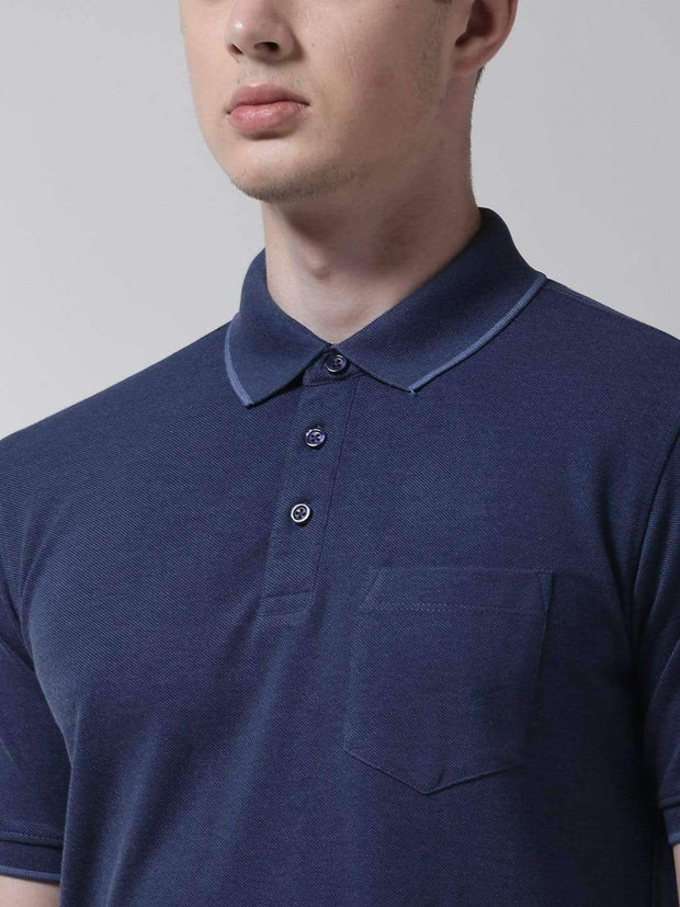 Indigo Polo Tshirt close view