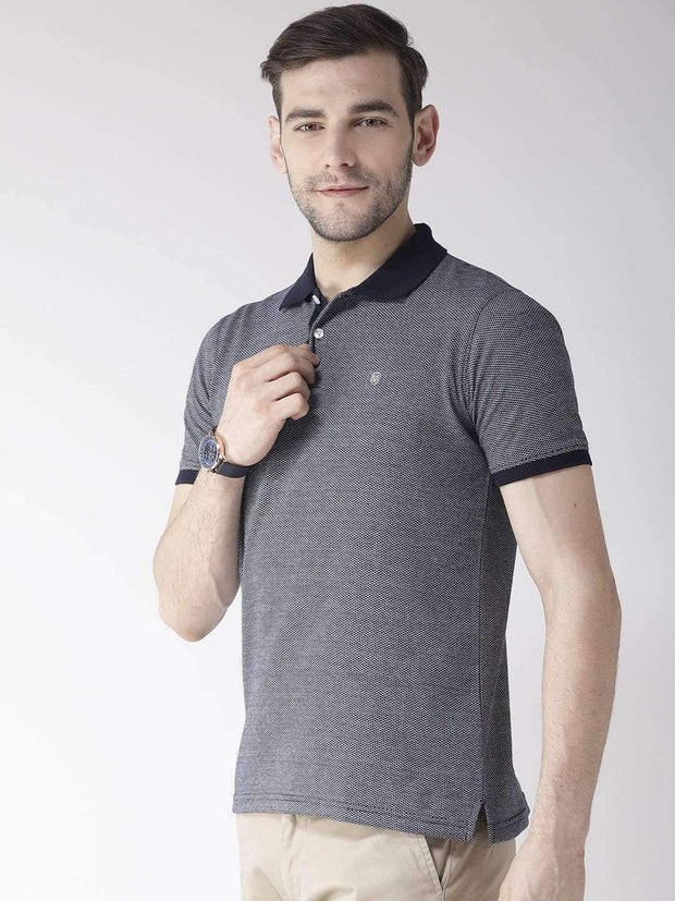 Richlook Navy Blue & Black Polo T-Shirt