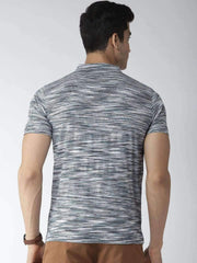 Navy Blue Henley Tshirt Back view