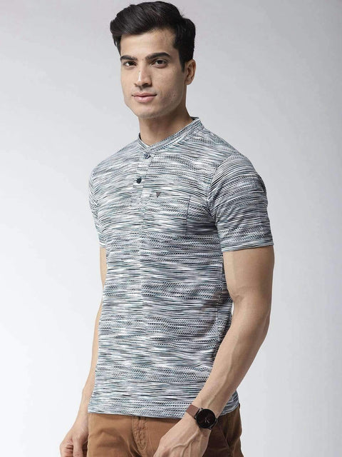 Navy Blue Henley Tshirt side view