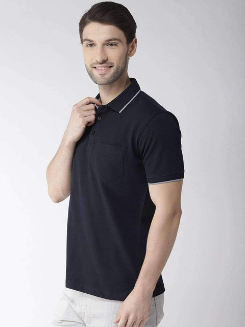 Navy Blue Polo Tshirt side view