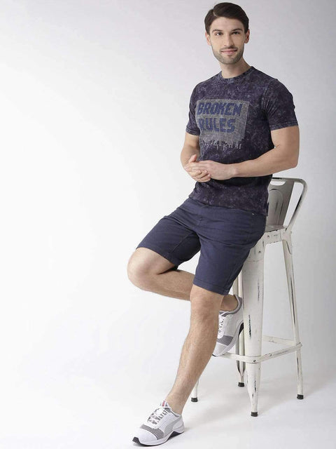 Navy Blue Round Neck T-shirt for Men