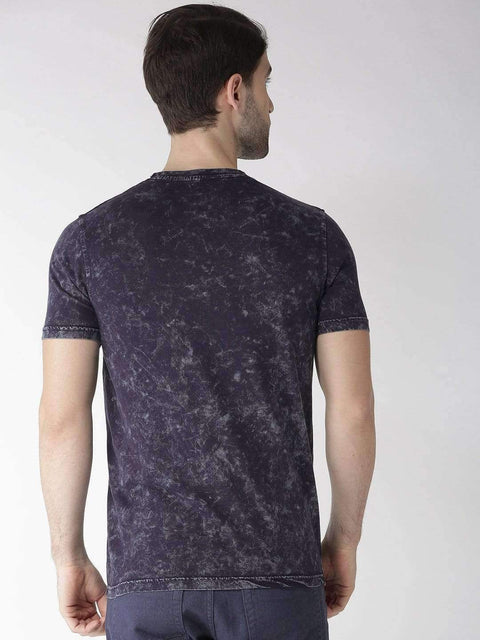 Navy Blue Round Neck T-shirt back view