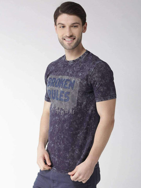 Navy Blue Round Neck T-shirt side view