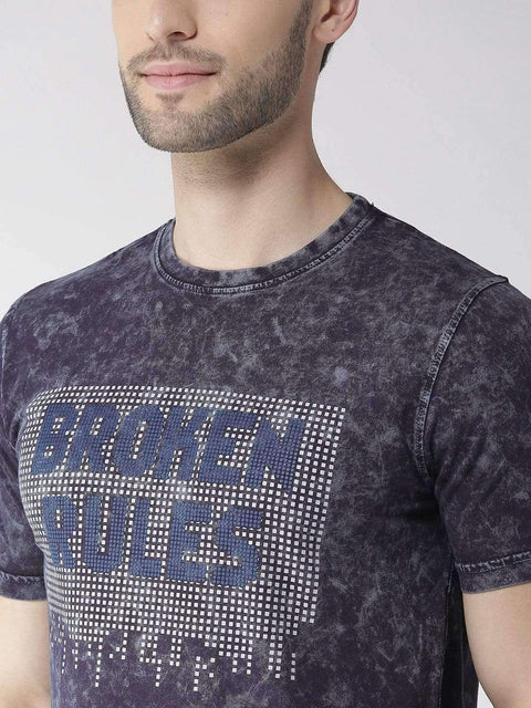 Navy Blue Round Neck T-shirt close view