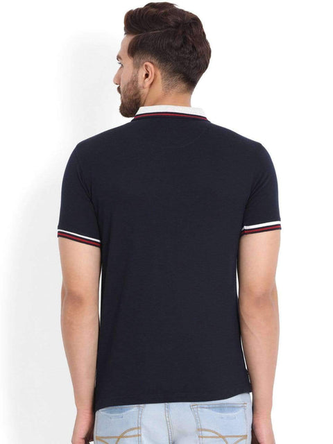Navy & Grey Polo T-Shirt back view