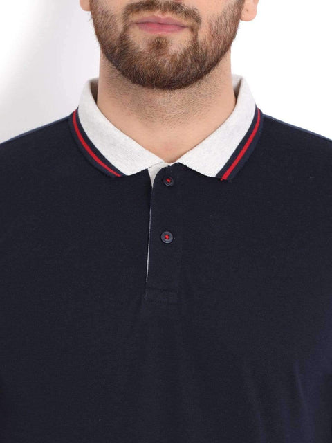 Navy & Grey Polo T-Shirt close view