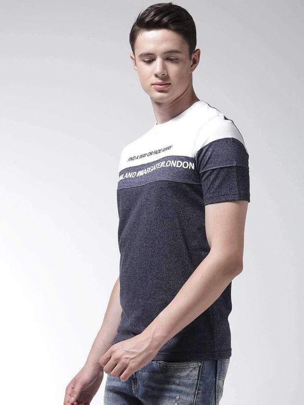 Richlook Navy & White Round Neck Tshirt