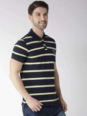 Navy & Yellow Polo Tshirt side view
