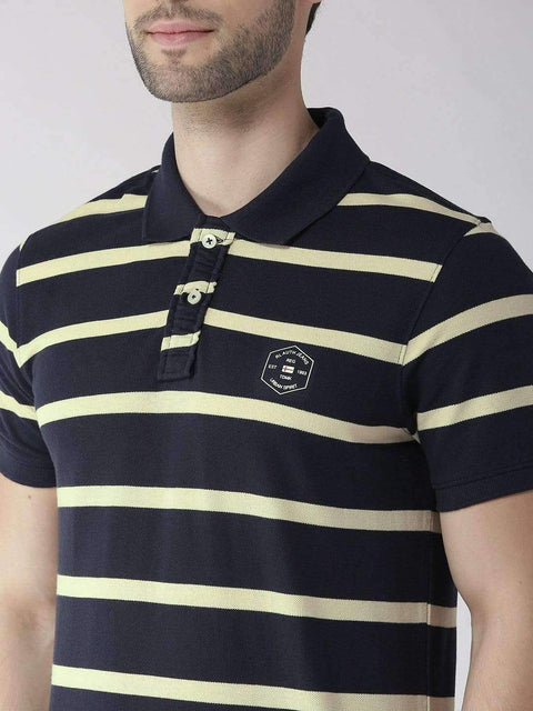Navy & Yellow Polo Tshirt close view