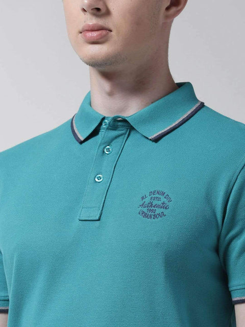 Teal Polo Tshirt close view
