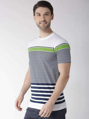 Richlook T-Shirt Richlook White & Blue Round Neck Tshirt