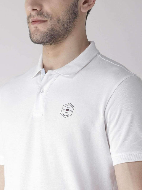White Polo T-Shirt close view