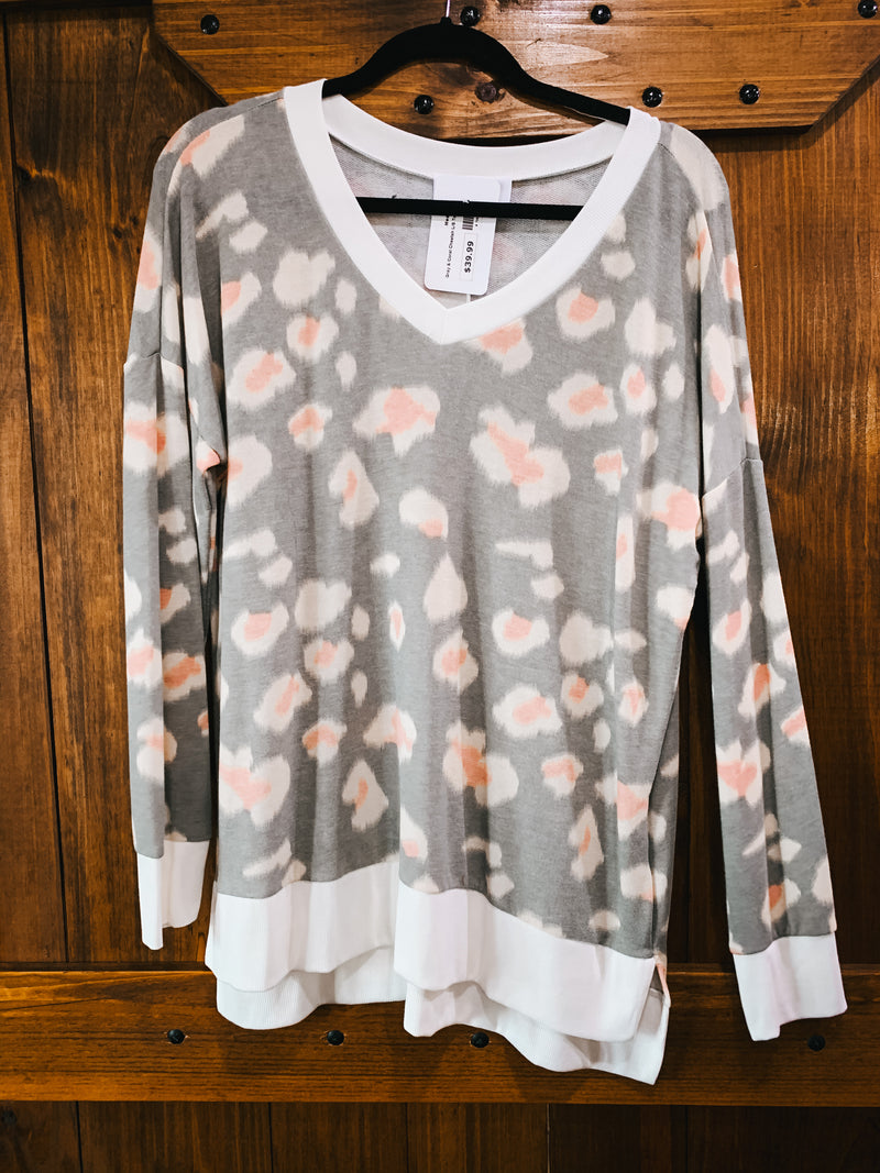 Gray & Coral Cheetah L/S Top