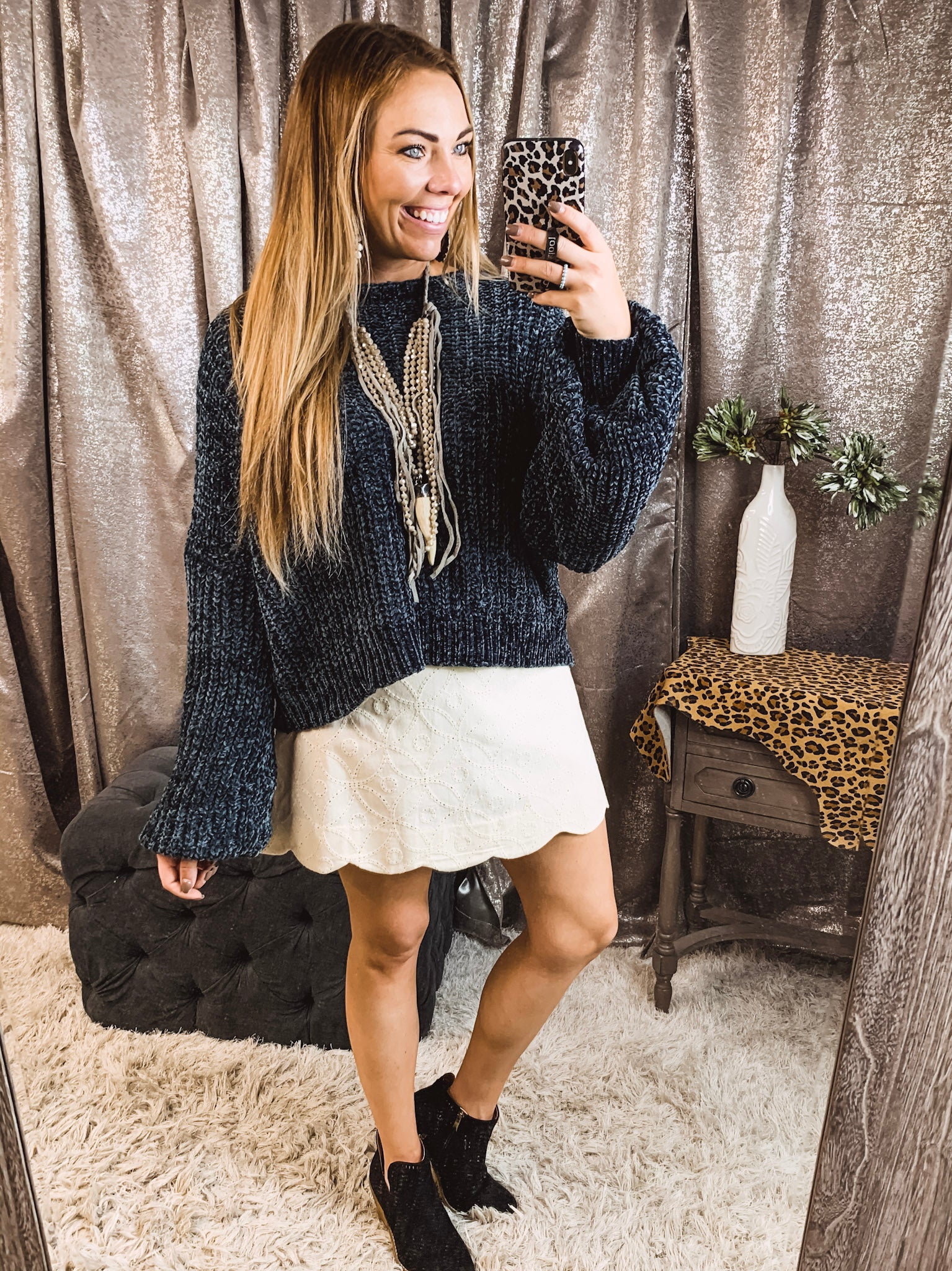 Oatmeal Embroidered Skirt