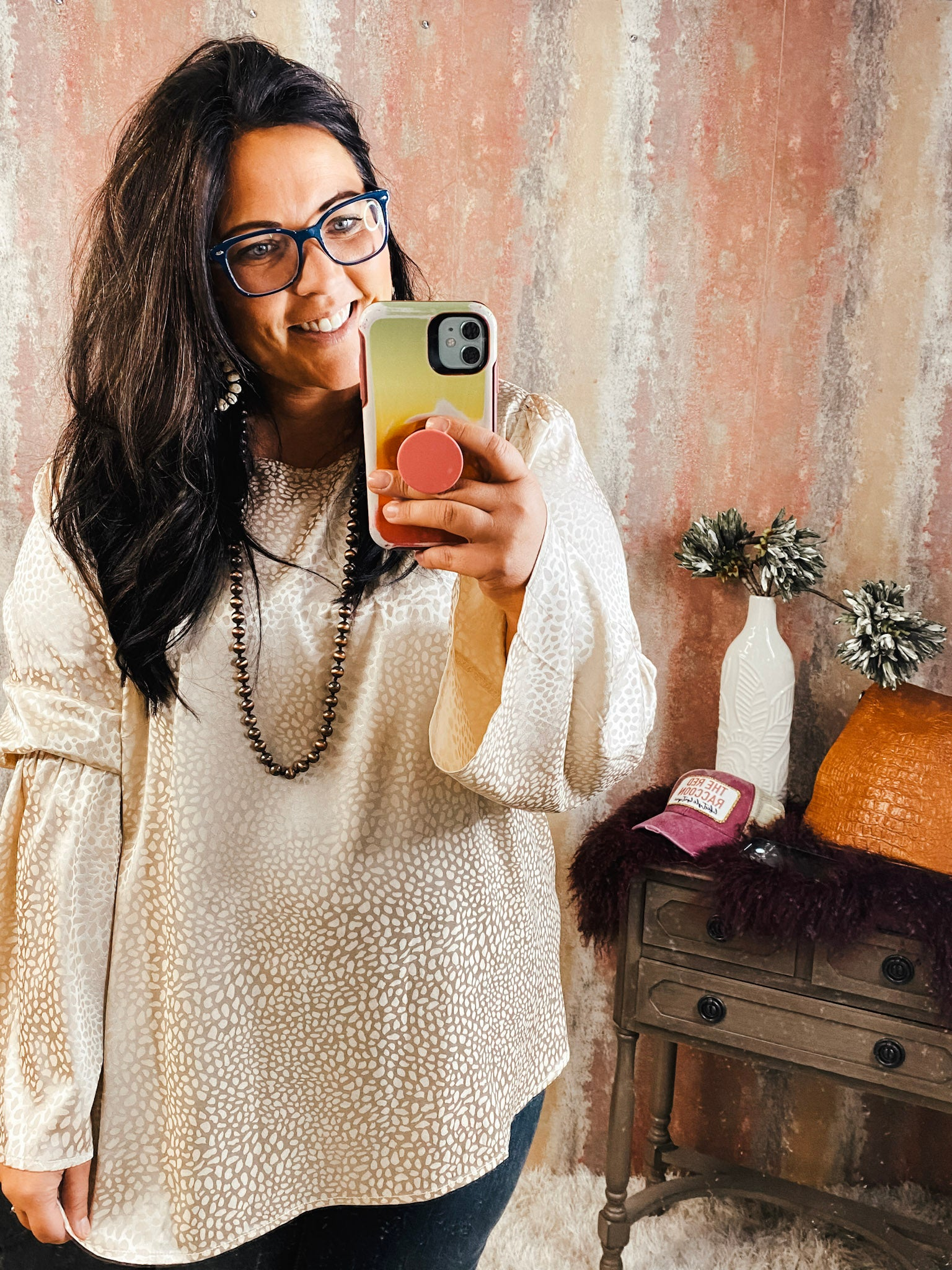 Champagne Cheetah Top w/ Bell Sleeves