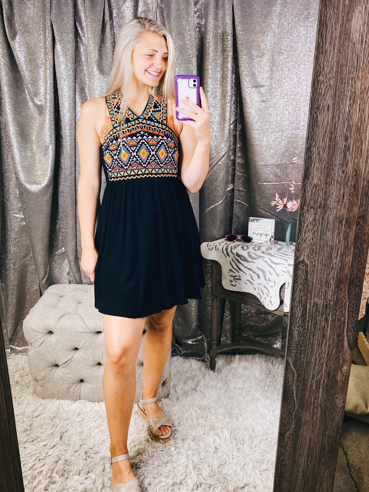 Embroidered Dress w/ Back Detail